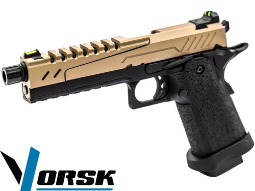 Réplique Airsoft Vorsk Hi Capa 5.1 Split black tan gaz GBB