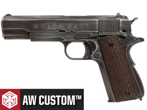 Réplique Airsoft AW Custom Molon Labe grip brown gaz GBB