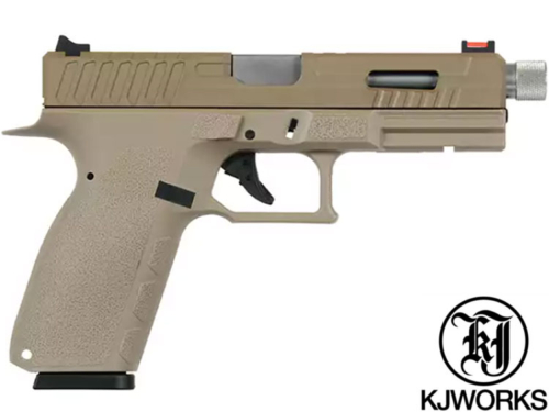 Réplique Airsoft KJ Works KP-13  tan canon fileté Full Auto gaz GBB